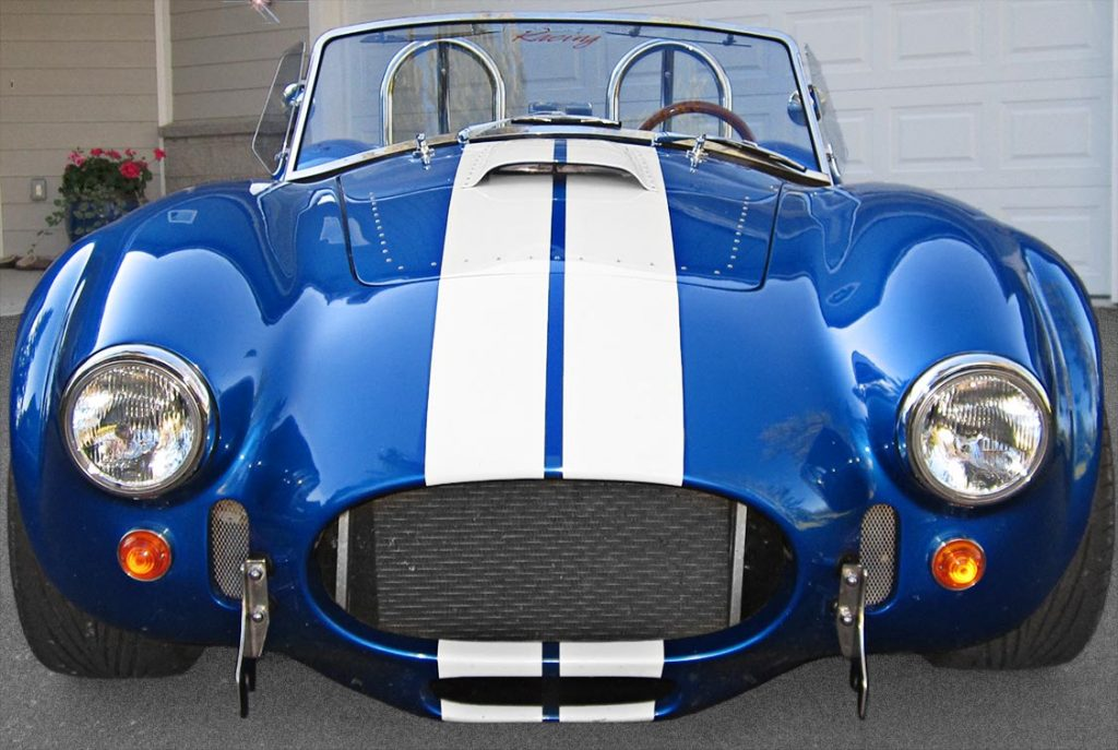 head-on frontal shot of Speedway Blue Backdraft Racing 427SC Shelby classic Cobra for sale, BDR757