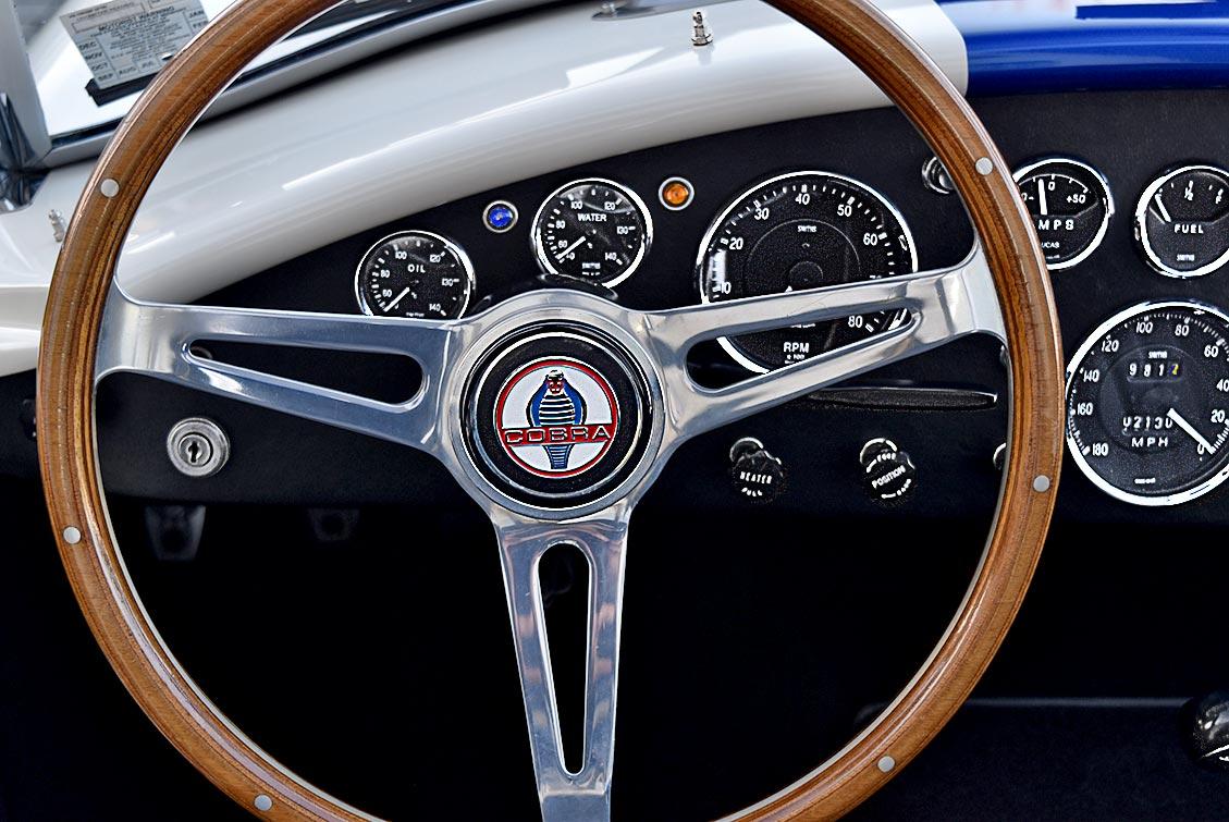 Moto-Lita steering wheel and dashboard gauges shot of WimWhite Superformance 427SC Shelby classic Cobra for sale, SPO2316