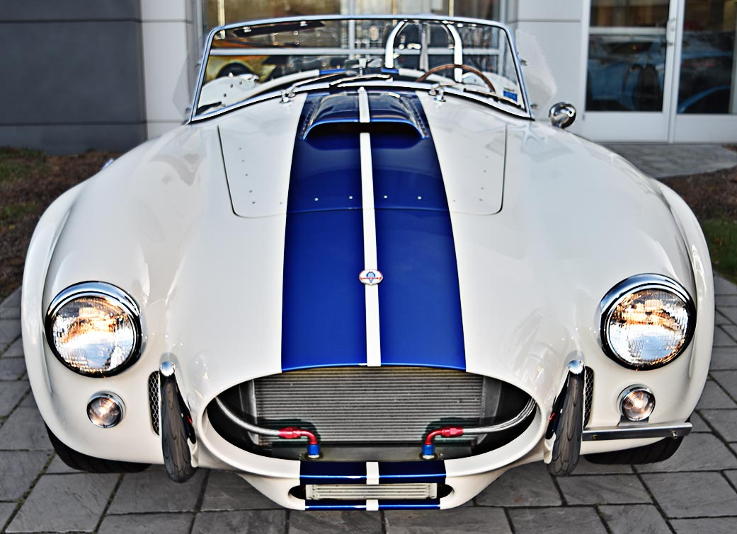 head-on frontal shot of WimWhite Superformance 427SC Shelby classic Cobra for sale, SPO2316