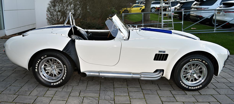 broadside shot (passenger side) of WimWhite Superformance 427SC Shelby classic Cobra for sale, SPO2316