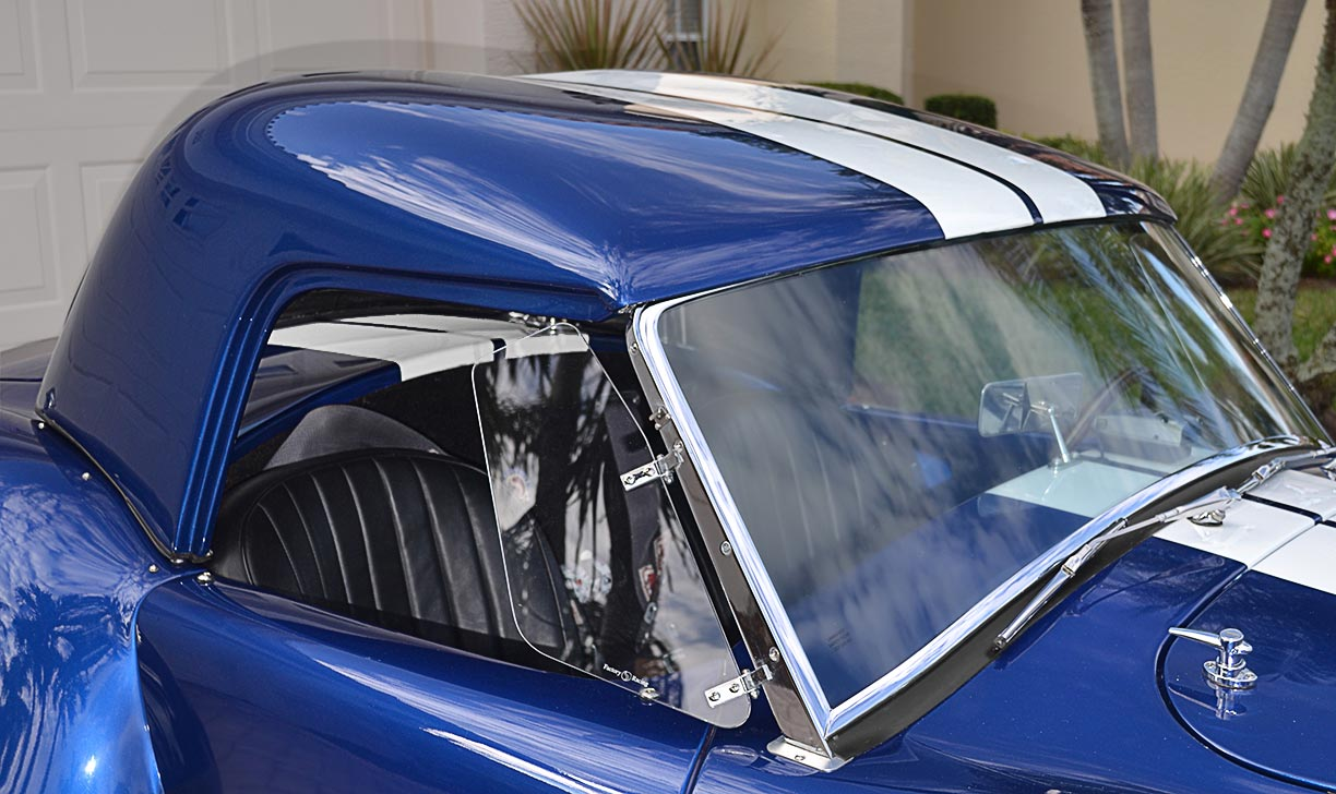 closeup shot of hard top on this 'Arrival Blue' Factory Five Racing Mk 3.1 427SC Shelby classic Cobra for sale by owner