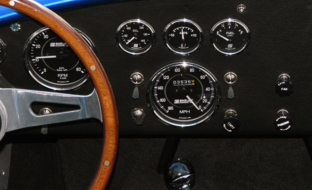 closeup shot of instrument gauges on dashboard of Shelby 427SC Cobra for sale, CSX6045