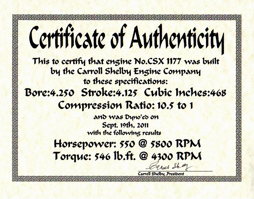 document: Certificate of Authenticty for Carroll Shelby 468cid V8 engine #CSX1177 of Shelby 427SC Cobra for sale, CSX6045
