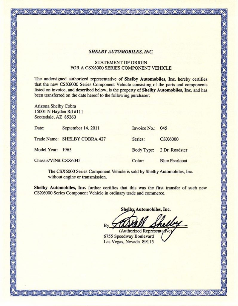 document: MSO (Mfrs. Statement of Origin) for Shelby 427SC Cobra for sale, CSX6045