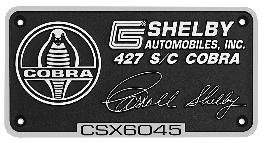 closeup shot of aluminum dash plaque for dashboard of Shelby 427SC Cobra for sale, CSX6045