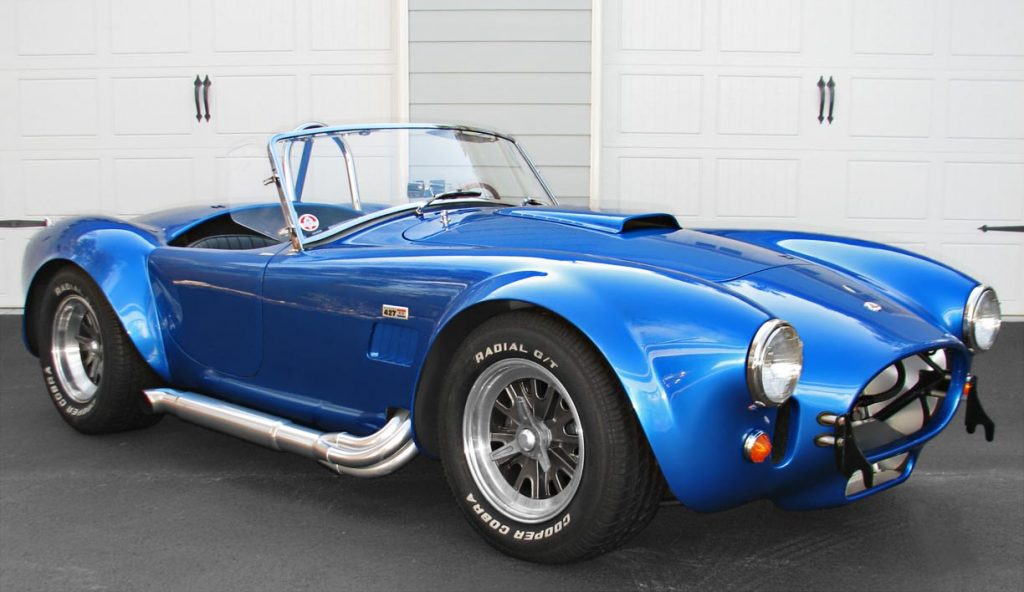 3/4-frontal photo (passenger side) of Intense Blue Pearl Shelby 427SC Cobra for sale, CSX6045