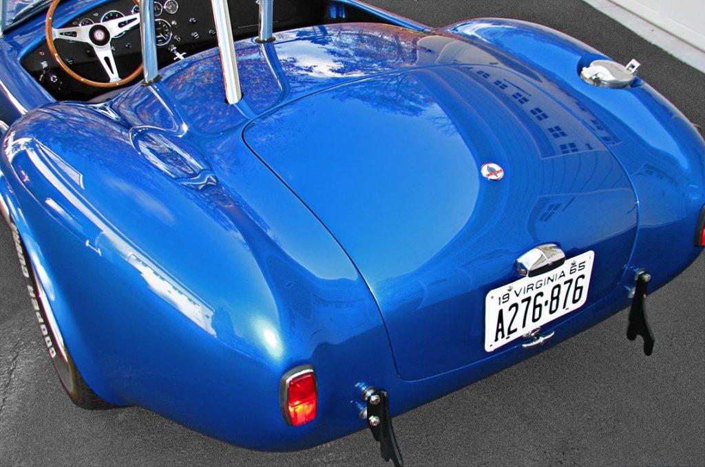 rear quarter shot (driver side) of Intense Blue Pearl Shelby 427SC Cobra for sale, CSX6045