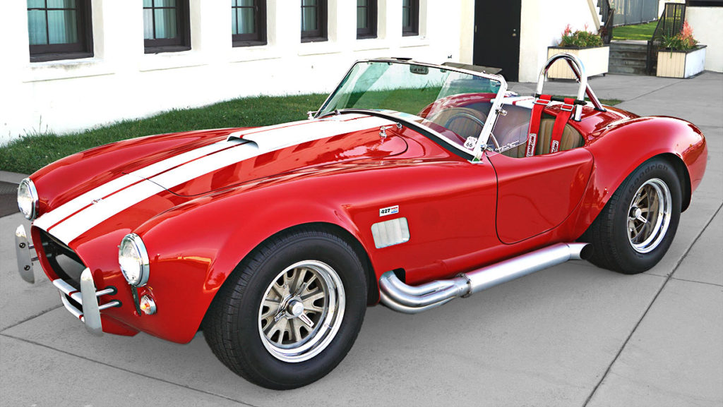 3/4-frontal view (driver side) of Ford Victory Red classic Shelby 427SC Cobra by Hi-Tech Motorsports for sale