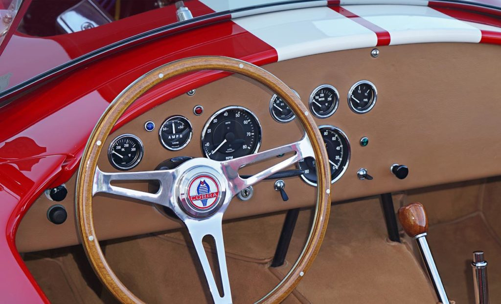 dashboard shot (from driver side) of Ford Victory Red classic Shelby 427SC Cobra by Hi-Tech Motorsports for sale