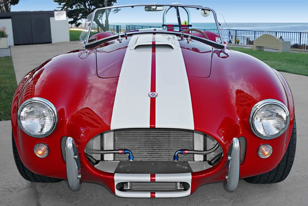 head-on frontal view of Ford Victory Red classic Shelby 427SC Cobra by Hi-Tech Motorsports for sale