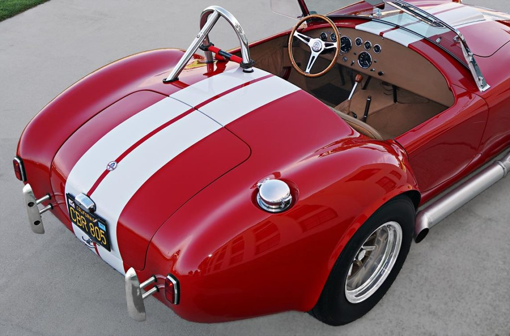 rear-quarterl view (passenger side) of Ford Victory Red classic Shelby 427SC Cobra by Hi-Tech Motorsports for sale
