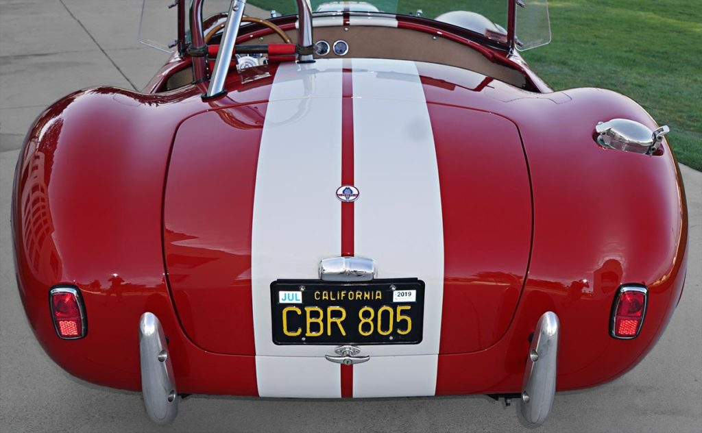 head-on rear view of Ford Victory Red classic Shelby 427SC Cobra by Hi-Tech Motorsports for sale