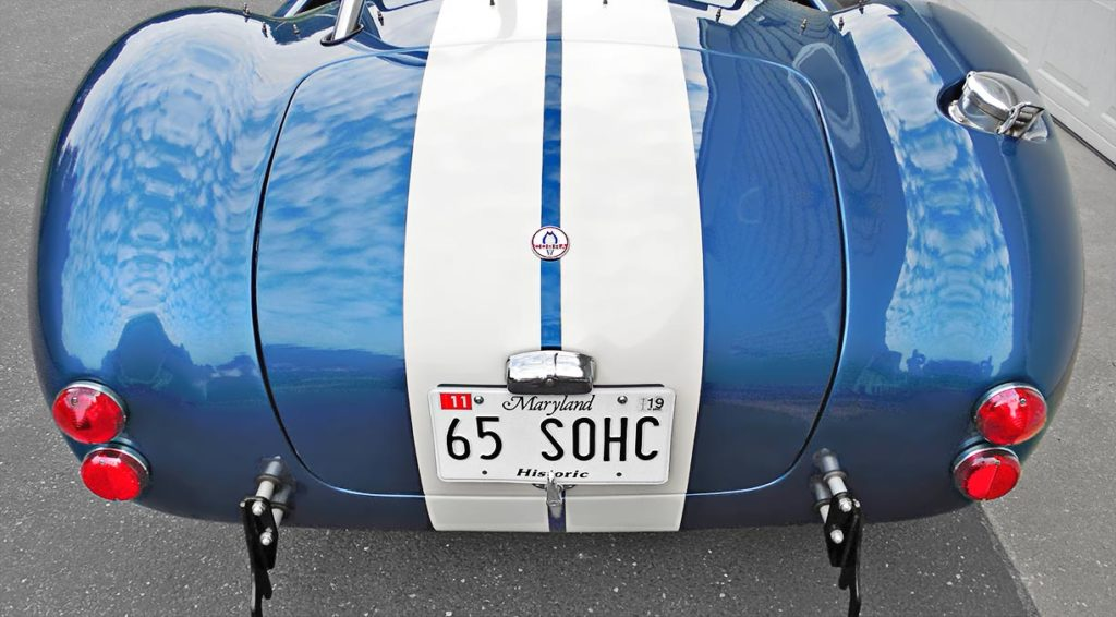 head-on rear shot (driver side) of Guardsman Blue (ERA) Shelby classic 427SC Cobra for sale by owner, ERA#567