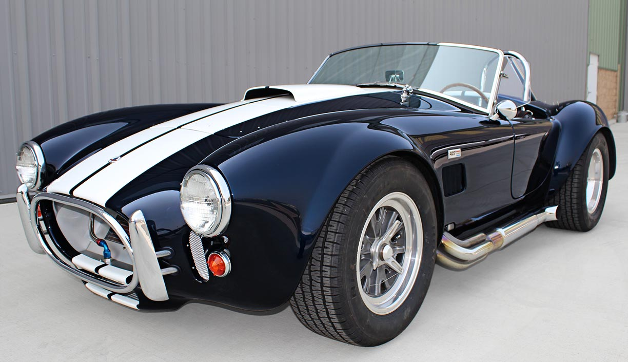 3/4-frontal shot#1 (driver side) of Midnight Blue 427SC Shelby classic E.R.A. Cobra for sale by owner