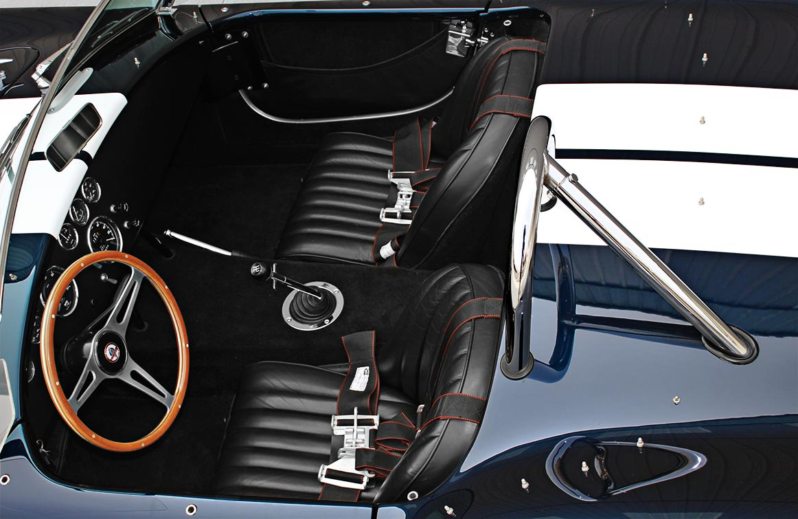 cockpit shot (from driver side) of Midnight Blue 427SC Shelby classic E.R.A. Cobra for sale by owner