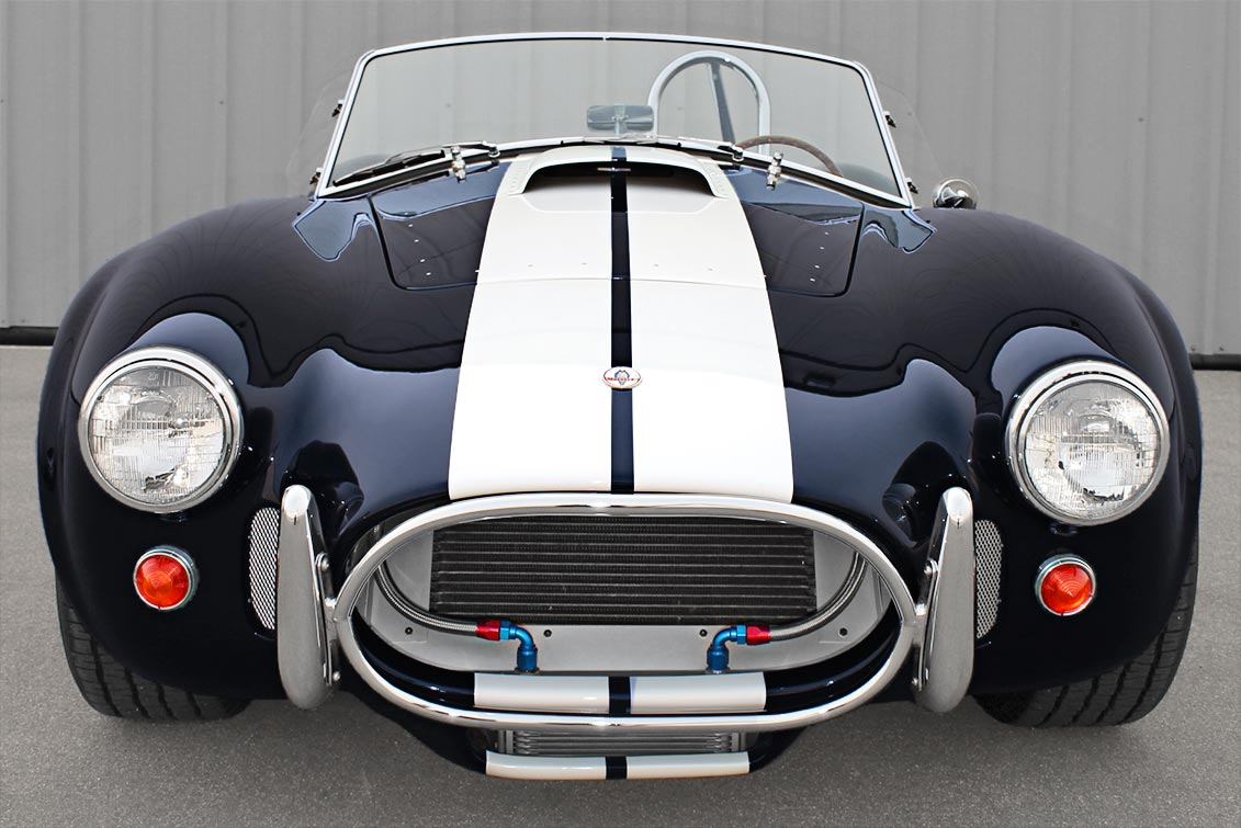 head-on frontal shot of Midnight Blue 427SC Shelby classic E.R.A. Cobra for sale by o