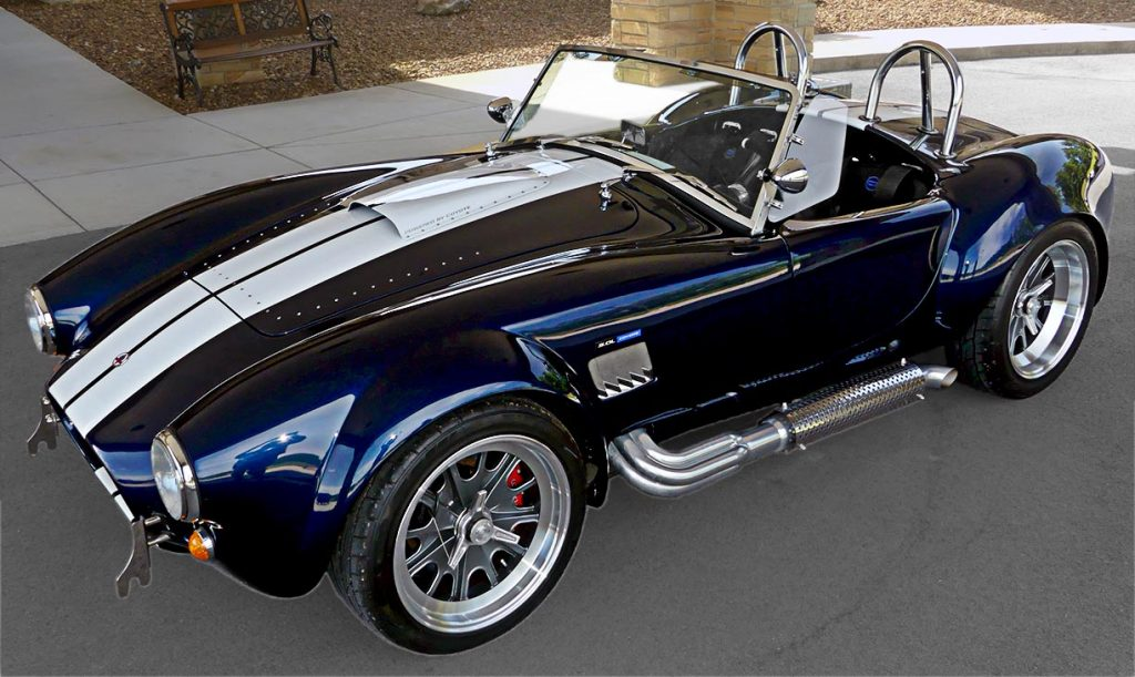 3/4-frontal shot of LeMans Blue Backdraft 427SC Shelby classic Cobra for sale, BDR1716