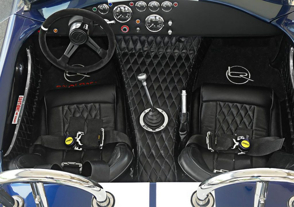 cockpit shot (from rear) of LeMans Blue Backdraft 427SC Shelby classic Cobra for sale, BDR1716