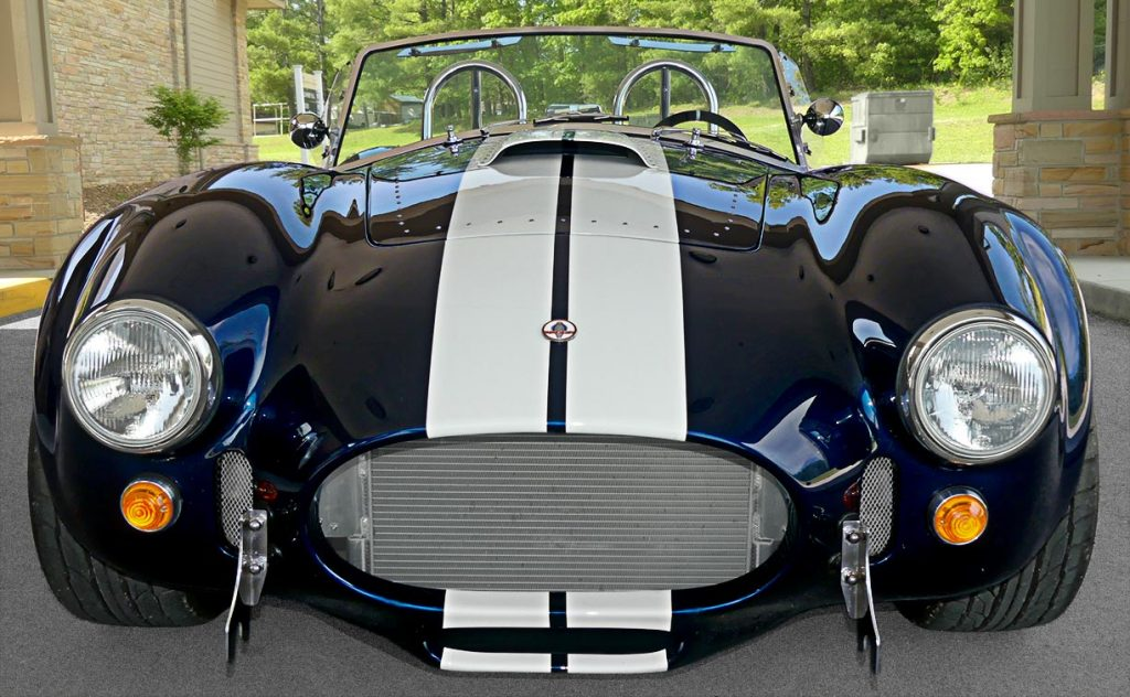 head-on frontal shot of LeMans Blue Backdraft 427SC Shelby classic Cobra for sale, BDR1716