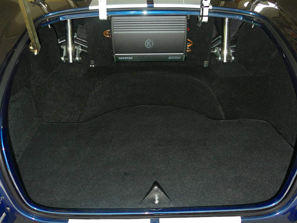 luggage compartment shot of LeMans Blue Backdraft 427SC Shelby classic Cobra for sale, BDR1716