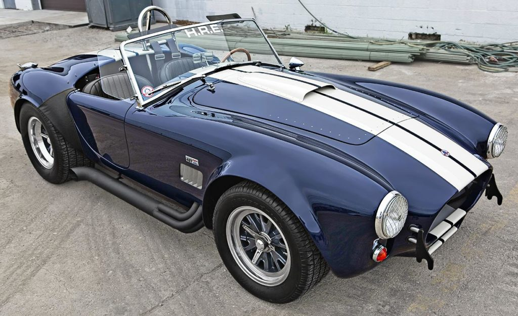 3/4-frontal image (passenger side) of Nightwatch Blue 427SC Shelby Cobra for sale, CSX4373