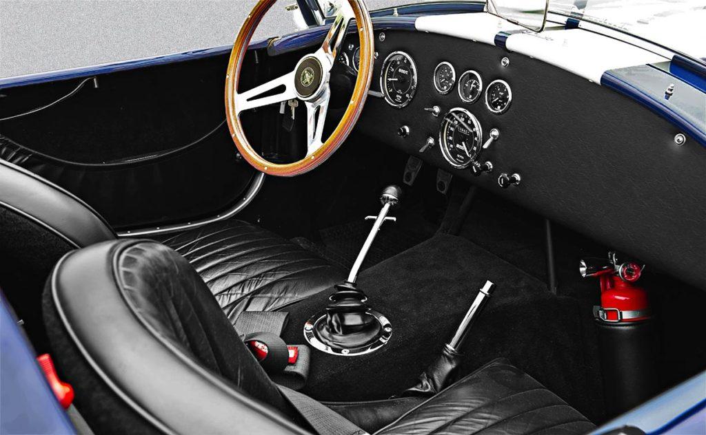 cockpit shot of Nightwatch Blue 427SC Shelby Cobra for sale, CSX4373