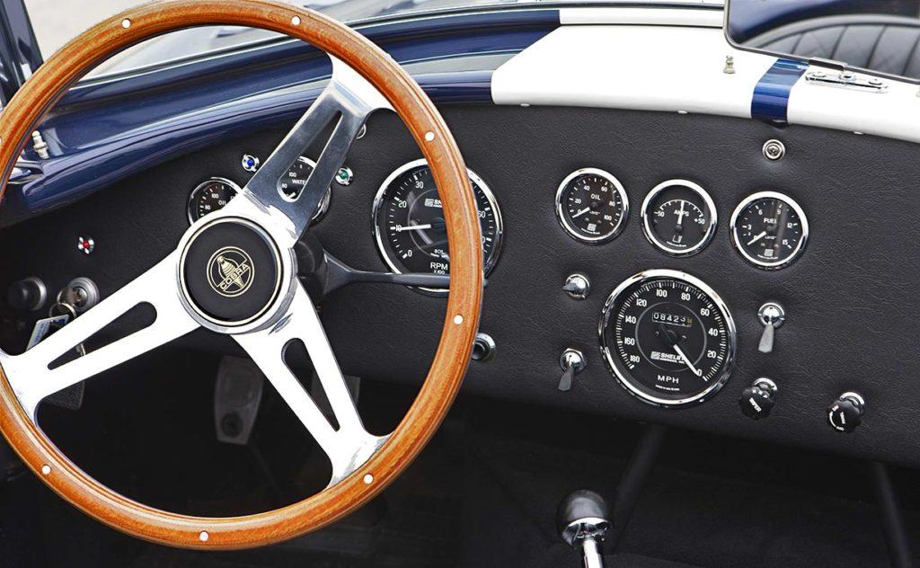closeup dashboard shot#2 of Nightwatch Blue 427SC Shelby Cobra for sale, CSX4373
