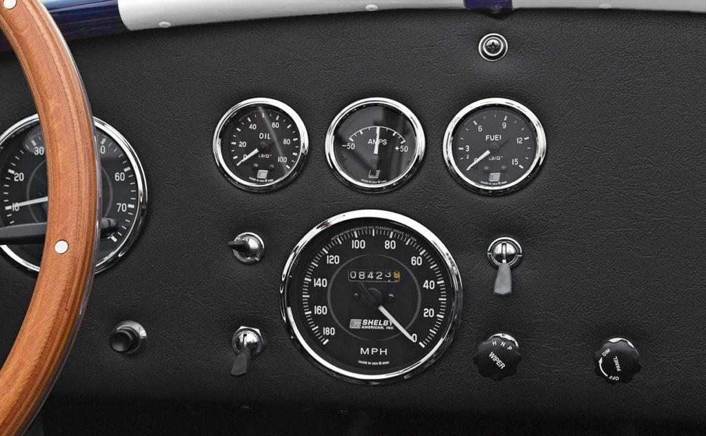 closeup gauge pod shot of Nightwatch Blue 427SC Shelby Cobra for sale, CSX4373