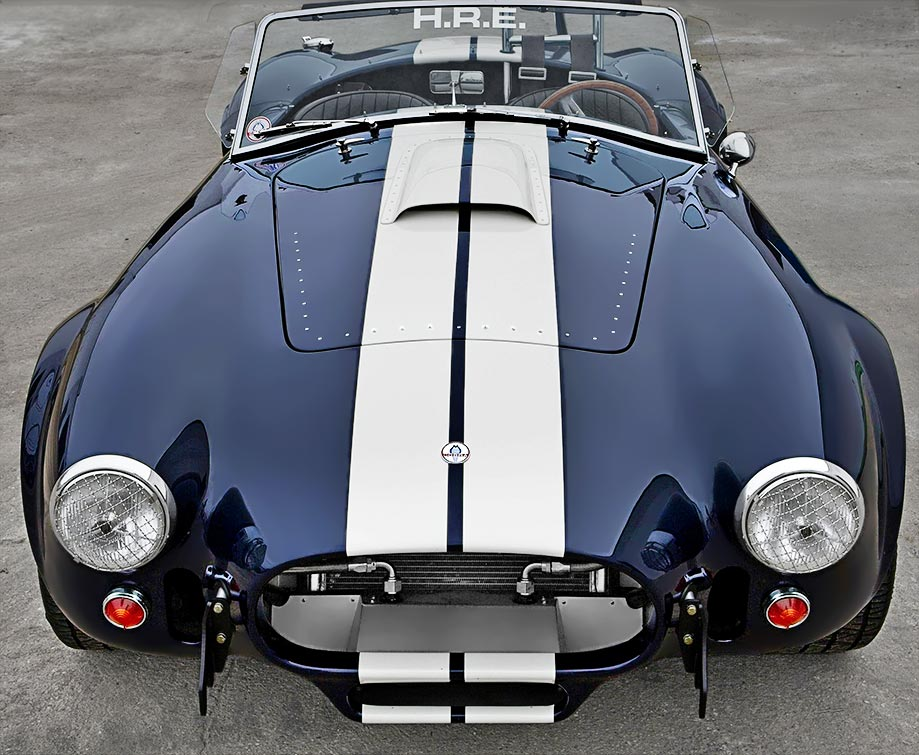 head-on frontal shot of Nightwatch Blue 427SC Shelby Cobra for sale, CSX4373
