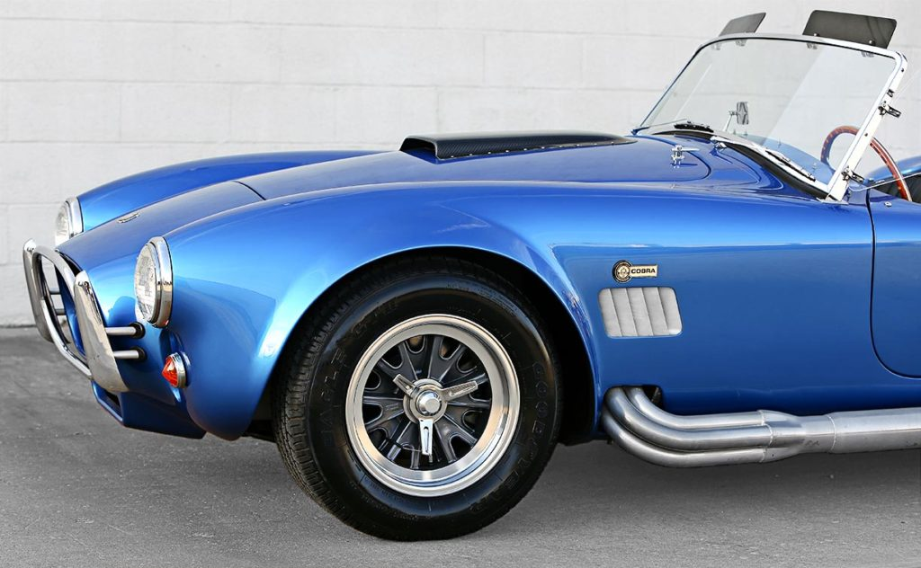 front-quarter shot (driver side) of 40th Anniversary Shelby American classic 427 Cobra for sale, Anniversary Blue, CSX4333