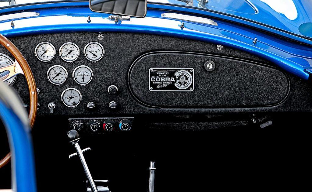 dashboard photo#2 of 40th Anniversary Shelby American classic 427 Cobra for sale, Anniversary Blue, CSX4333