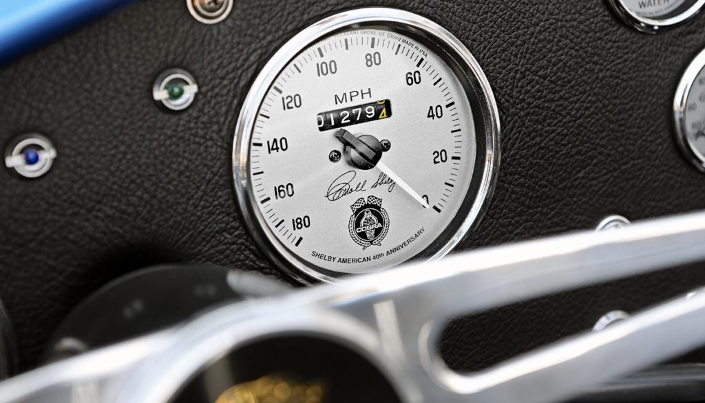 closeup shot of speedometer on this 40th Anniversary Shelby American classic 427 Cobra for sale, Anniversary Blue, CSX4333