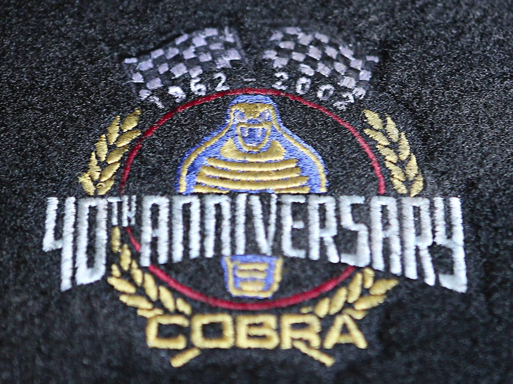 40th Anniversary embroidery on floormat of 40th Anniversary Shelby American classic 427 Cobra for sale, Anniversary Blue, CSX4333