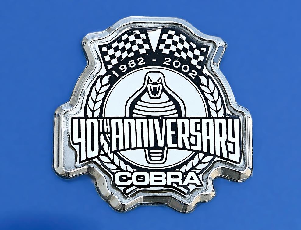 closeup shot of hood (bonnet) plaque on 40th Anniversary Shelby American classic 427 Cobra for sale, Anniversary Blue, CSX4333