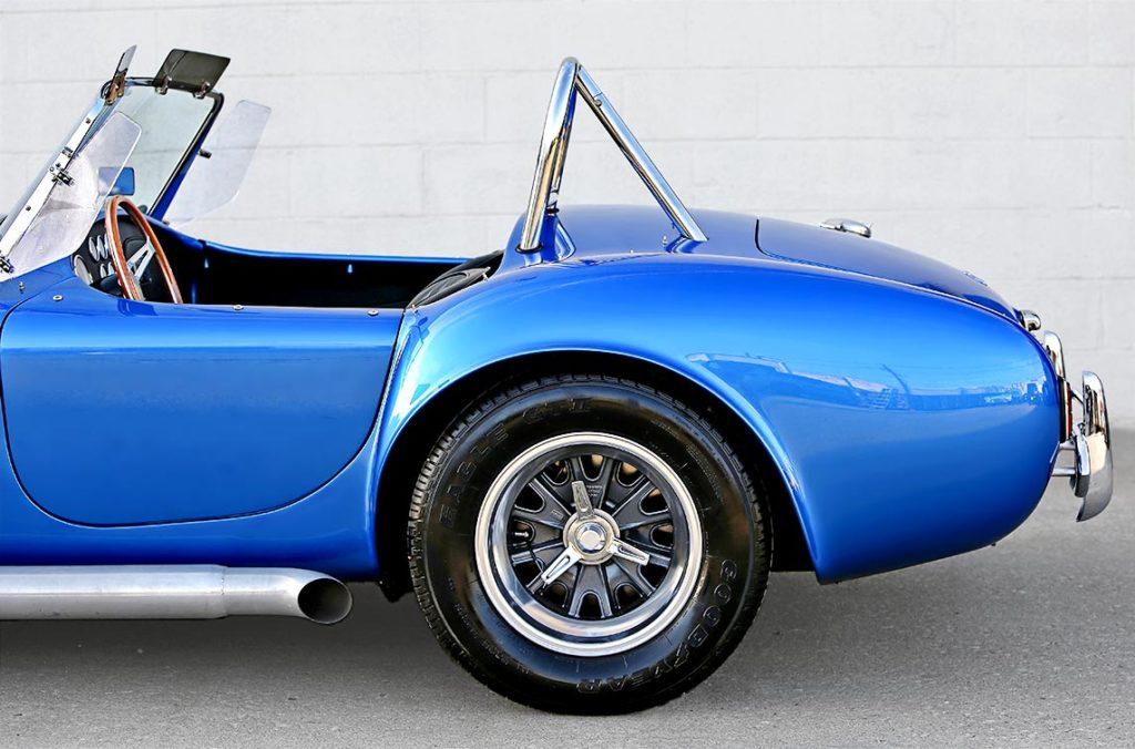 rear-quarter shot (driver side) of 40th Anniversary Shelby American classic 427 Cobra for sale, Anniversary Blue, CSX4333