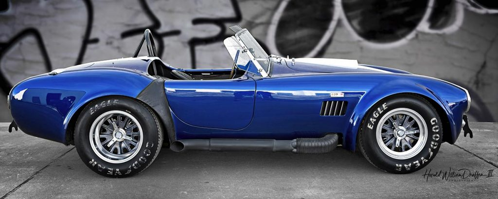 broadside shot (passenger side) of Guardsman Blue Superformance 427SC Shelby classic Cobra for sale, SPO#0598