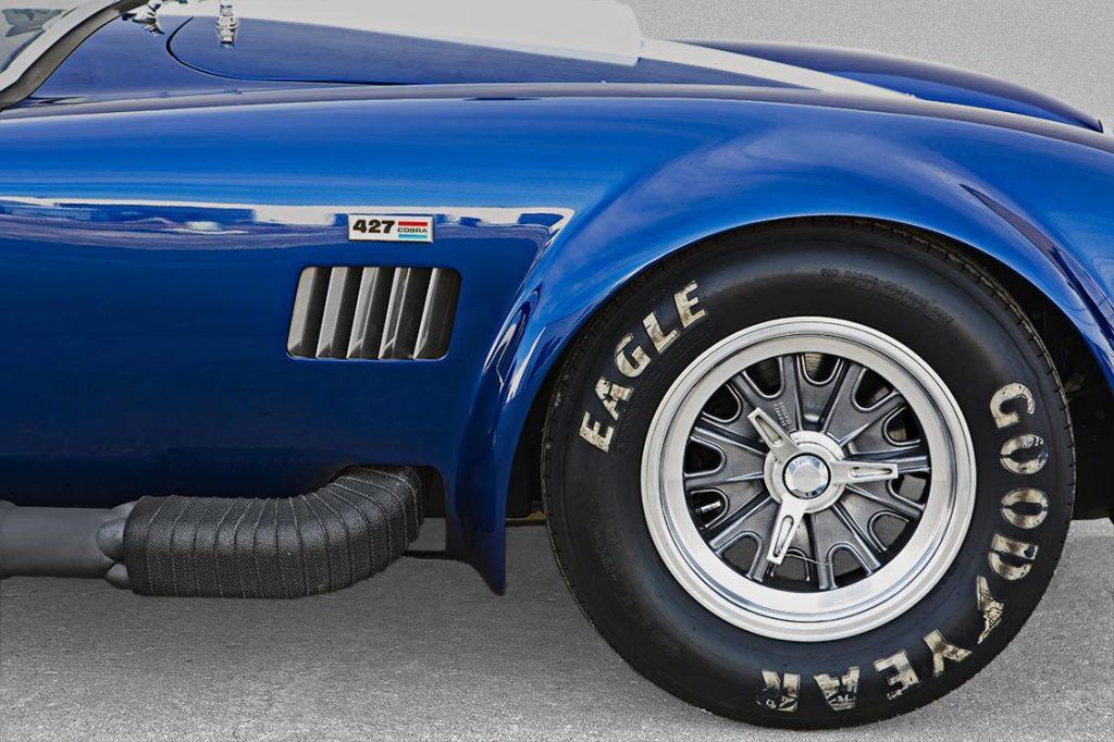 front-quarter shot (passenger side) of Guardsman Blue Superformance 427SC Shelby classic Cobra for sale, SPO#0598