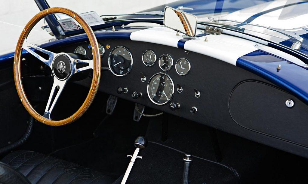 dashboard shot#1 (from passenger side) of Guardsman Blue Superformance 427SC Shelby classic Cobra for sale, SPO#0598
