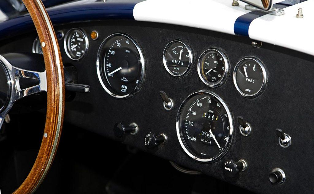 gauge array shot of Guardsman Blue Superformance 427SC Shelby classic Cobra for sale, SPO#0598