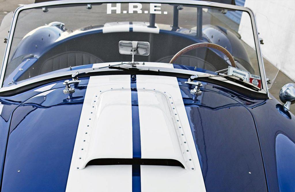 frontal/thru the windscreen shot of Guardsman Blue Superformance 427SC Shelby classic Cobra for sale, SPO#0598