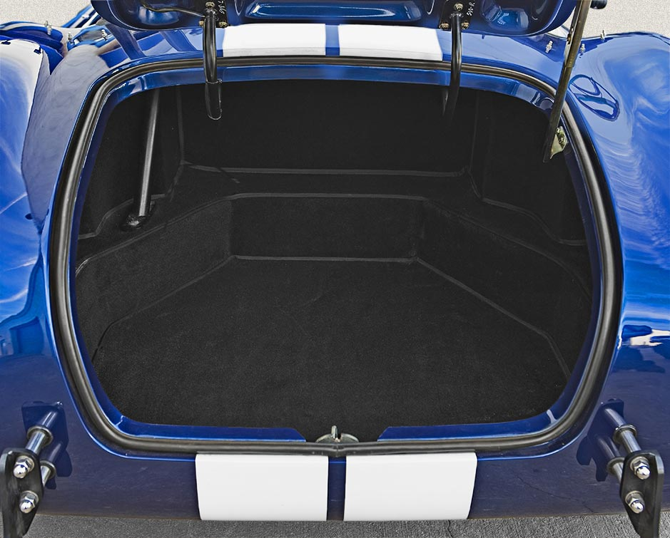 luggage compartment shot of Guardsman Blue Superformance 427SC Shelby classic Cobra for sale, SPO#0598