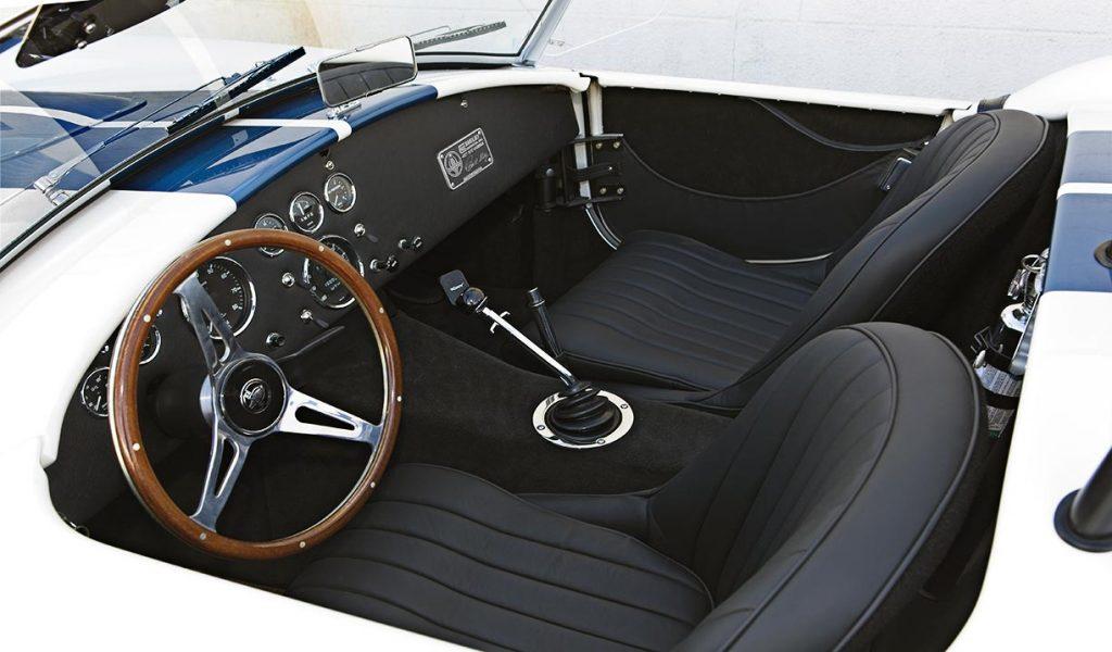 cockpit shot of Wimbledon White Shelby 427SC classic Cobra for sale, CSX4032