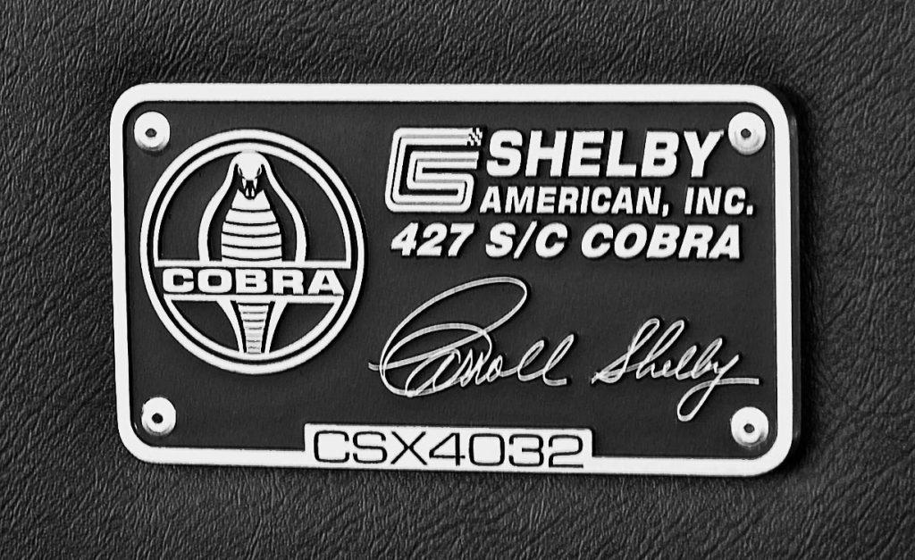 dash plaque shot of Wimbledon White Shelby 427SC classic Cobra for sale, CSX4032