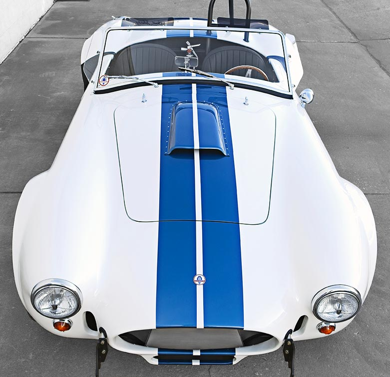 aerial/frontal shot of Wimbledon White Shelby 427SC classic Cobra for sale, CSX4032