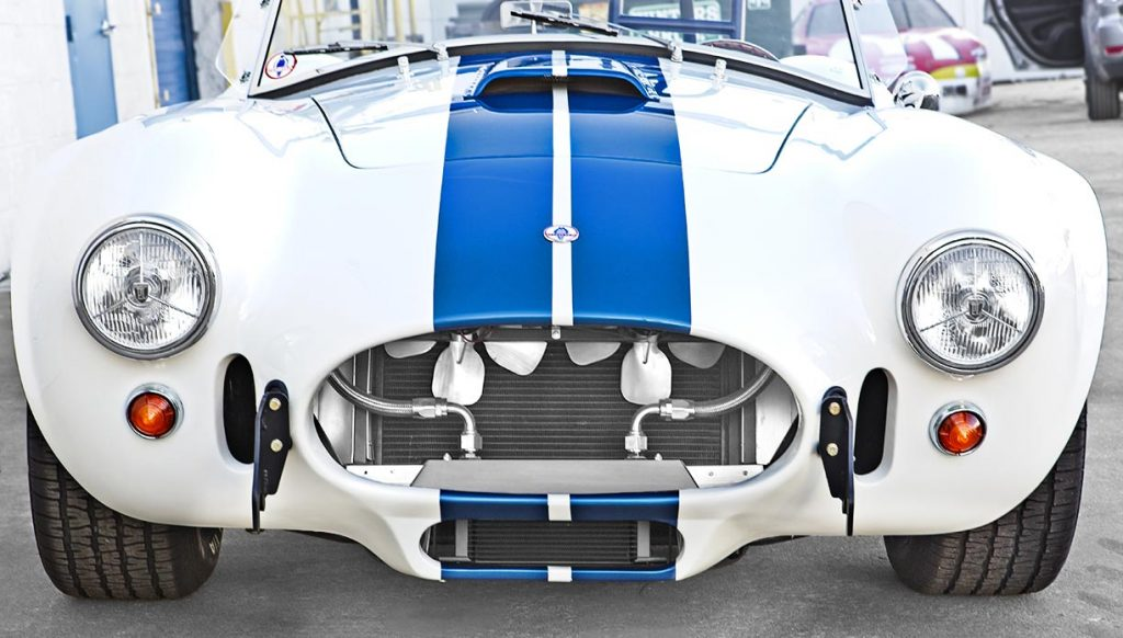head-on frontal shot of Wimbledon White Shelby 427SC classic Cobra for sale, CSX4032