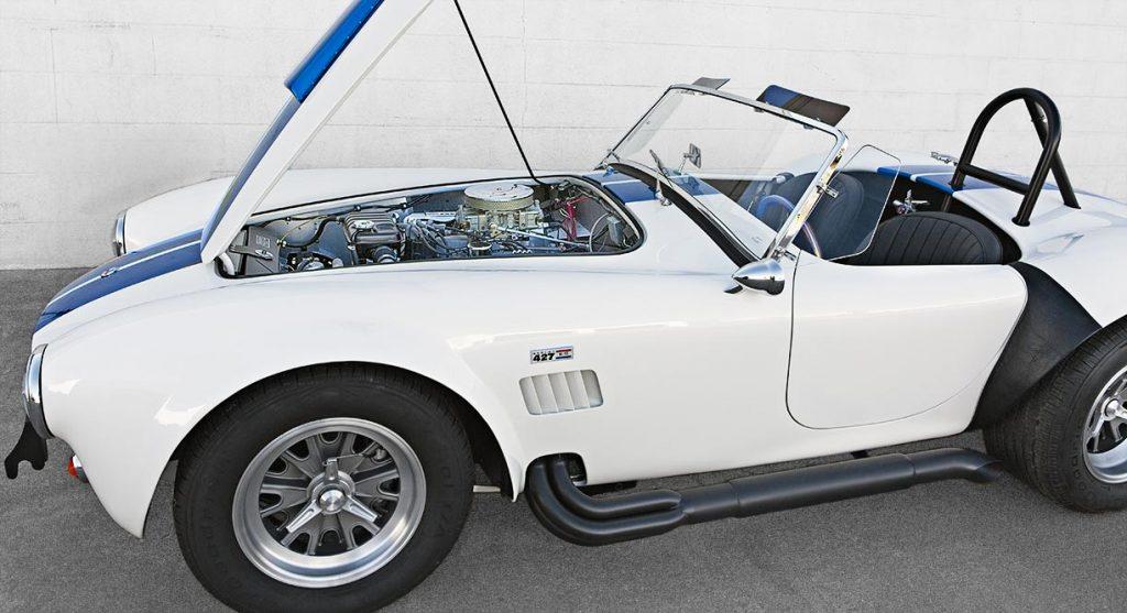 od-up shot of Wimbledon White Shelby 427SC classic Cobra for sale, CSX40ho32