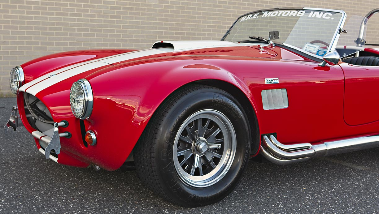 front-quarter shot (driver side) of McDonald Red 427SC Shelby classic 427S/C Cobra for sale, CSX4297