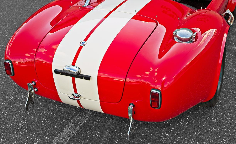 rear-quarter shot (passenger side) of McDonald Red 427SC Shelby classic 427S/C Cobra for sale, CSX4297