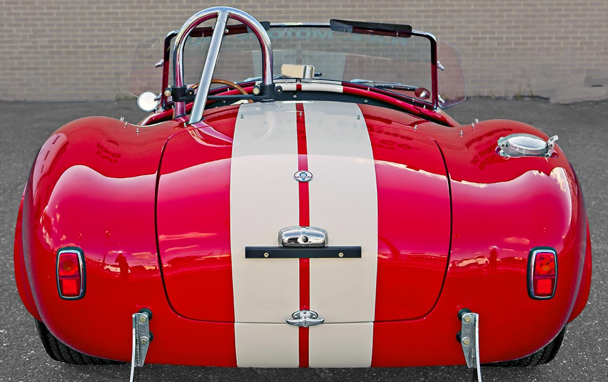 head-on rear shot of McDonald Red 427SC Shelby classic 427S/C Cobra for sale, CSX4297