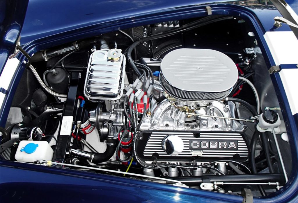 CHP (Coast High Performance) 'Cobra Classic' Windsor 'stroker' 427 cid engine photo of Indigo Blue/Arctic White stripes Superformance 427SC Shelby classic Cobra for sale by owner, SPO1983